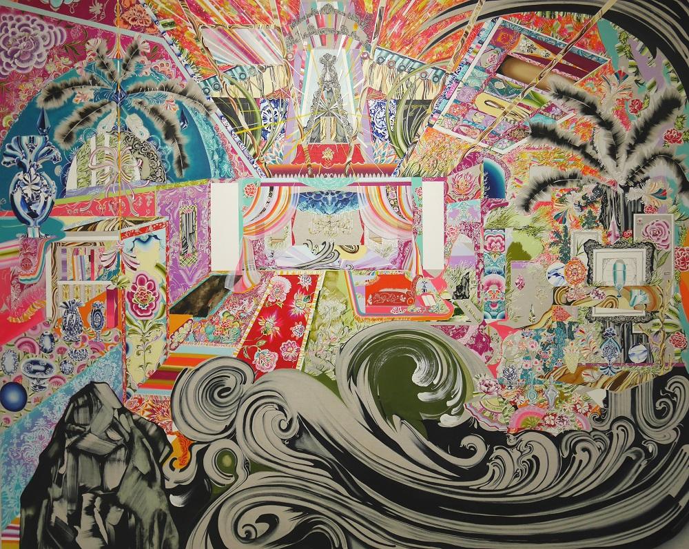 キャプション「入れ子状に渦巻く」2018年キャンバスに油彩、ボールペン 181.8×227.3cm